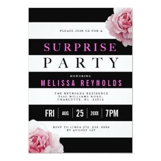 Schwarz-weißes und rosa Rosen-Überraschungs-Party 12,7 X 17,8 Cm Einladungskarte