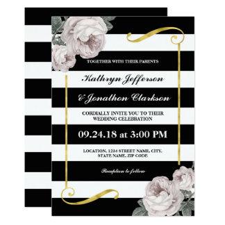 Schwarz-weißes Vintages Goldblumenhochzeit der 12,7 X 17,8 Cm Einladungskarte