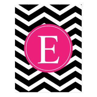 Schwarz-weißes Zickzack helles rosa Monogramm Postkarte