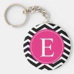 Schwarz-weißes Zickzack helles rosa Monogramm Schlüsselanhänger