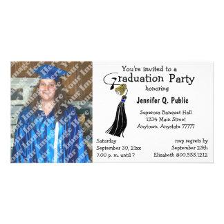 Schwarze Abschluss-Party-Foto-Einladung Photo Grußkarte