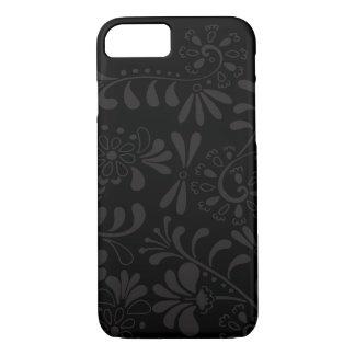 Schwarze abstrakte Blumen iPhone 8/7 Hülle