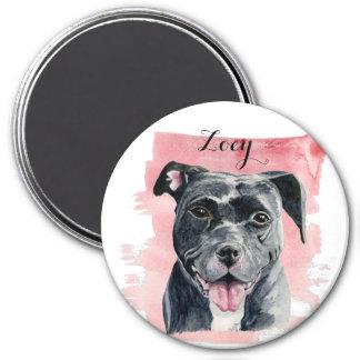 Schwarze amerikanische Bulldoggen-Aquarell-Malerei Runder Magnet 7,6 Cm