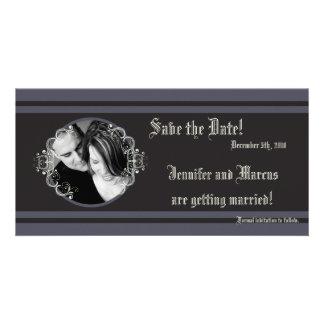 schwarze Angelegenheits-Verlobungs-Mitteilung der Individuelle Foto Karten