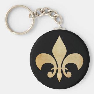 Schwarze antike GoldLilien-Schlüsselkette Schlüsselanhänger