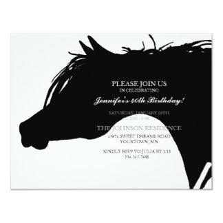 Schwarze arabische Pferdekopf-Geburtstags-Party 10,8 X 14 Cm Einladungskarte