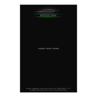 Schwarze Auto-Silhouette beleuchtete grüne Linie 14 X 21,6 Cm Flyer