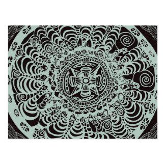 Schwarze aztekische Mandala Postkarte