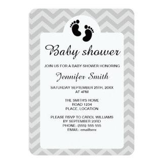 Schwarze Baby-Abdruck-Silhouette-Baby-Dusche 12,7 X 17,8 Cm Einladungskarte