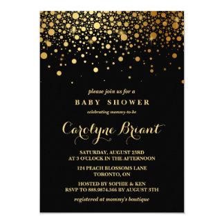 Schwarze Baby-Dusche Imitat-Goldfolieconfetti-| 12,7 X 17,8 Cm Einladungskarte