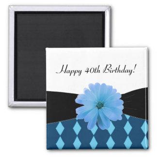 Schwarze Band-blaue Blumen-40. Geburtstag Quadratischer Magnet