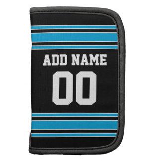 Schwarze blaue Fußball-Jersey-Name-Zahl Mappe