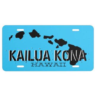 Schwarze blaue Kailua Kona Hawaii US Nummernschild