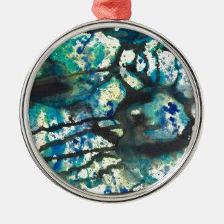 Schwarze blaue und gelbe abstrakte Malerei Silbernes Ornament