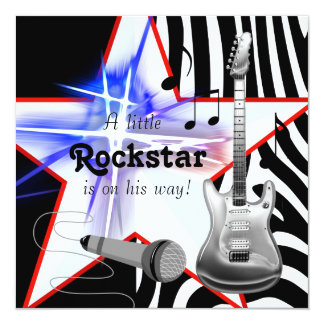 Schwarze blaue Zebra Rockstar Baby-Dusche Quadratische 13,3 Cm Einladungskarte