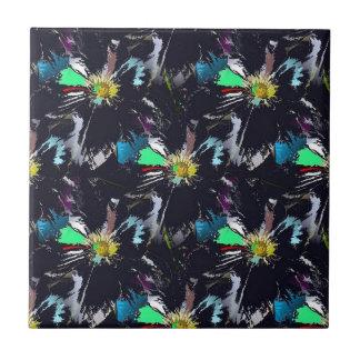 Schwarze Blume abstrakt Keramikfliese