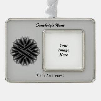 Schwarze Blumen-Band-Schablone (H-O) Rahmen-Ornament Silber