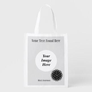 Schwarze Blumen-Band-Schablone Wiederverwendbare Einkaufstasche