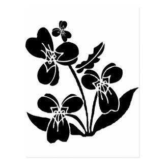 Schwarze Blumen Postkarte