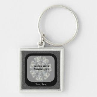 Schwarze BlumenFoto-Schablone personalisiertes Schlüsselanhänger