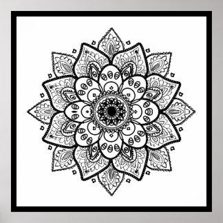 Schwarze BlumenMandala auf Weiß Poster