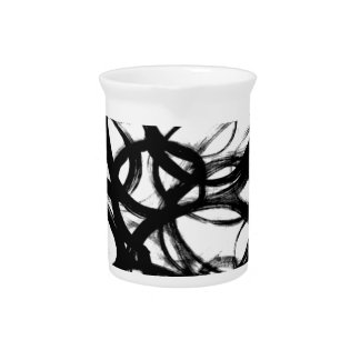 Schwarze Brushstroke-Aquarell-Kreise Getränke Pitcher