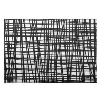 Schwarze Brushstroke-Aquarell-Streifen Stofftischset