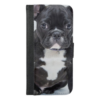 Schwarze Bulldogge iPhone 6/6s Plus Geldbeutel Hülle