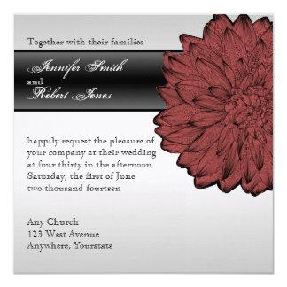 Schwarze Dahlie-vornehme Hochzeits-Einladung Karte