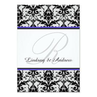 Schwarze Damast-blaues Grau-Monogramm-Hochzeit Karte