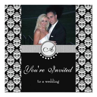 Schwarze Damast-Foto-Hochzeits-Einladung Quadratische 13,3 Cm Einladungskarte