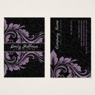 Schwarze Damaste und lila Verzierung Visitenkarte