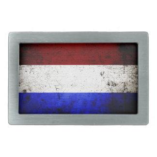 Schwarze die Schmutz-Niederlande-Flagge Rechteckige Gürtelschnalle