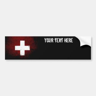 Schwarze die Schmutz-Schweiz-Flagge Autoaufkleber