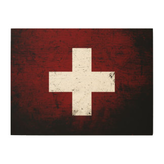 Schwarze die Schmutz-Schweiz-Flagge Holzdruck
