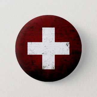 Schwarze die Schmutz-Schweiz-Flagge Runder Button 5,7 Cm