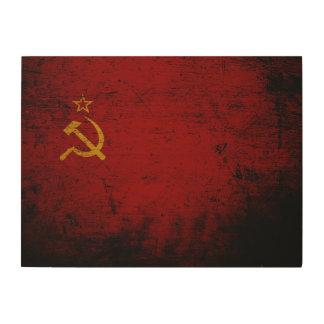 Schwarze die Schmutz-Sowjetunions-Flagge Holzwanddeko