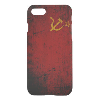 Schwarze die Schmutz-Sowjetunions-Flagge iPhone 8/7 Hülle