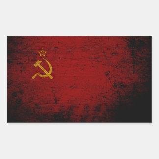Schwarze die Schmutz-Sowjetunions-Flagge Rechteckiger Aufkleber
