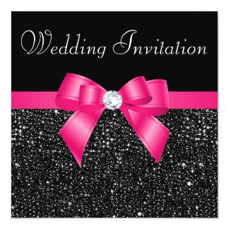 Schwarze DruckPaillette und Pink-Bogen-Hochzeit Quadratische 13,3 Cm Einladungskarte
