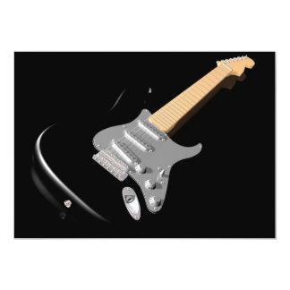 Schwarze E-Gitarren-Einladungen Karte