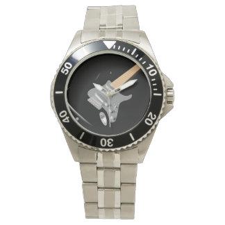 Schwarze E-Gitarren-Uhr Armbanduhr