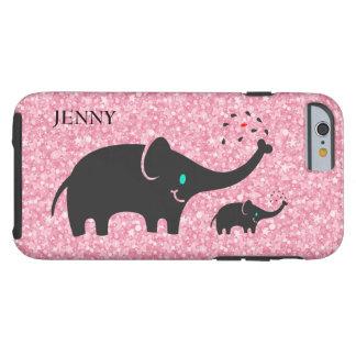 Schwarze Elefant-rosa Glitter Tough iPhone 6 Hülle