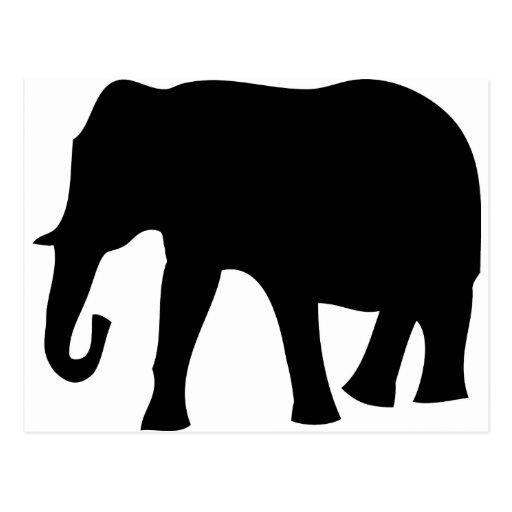 schwarze Elefantikone Postkarte