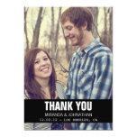 Schwarze Entwurfs-Foto-Hochzeit danken Ihnen Karte Personalisierte Ankündigungskarte
