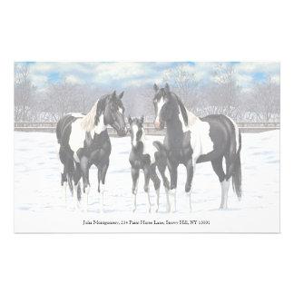 Schwarze Farben-Pferde im Schnee Briefpapier