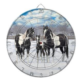 Schwarze Farben-Pferde im Schnee Dartscheibe
