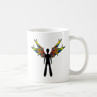 Schwarze Fee mit Buntglas-Flügeln Kaffeetasse