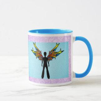 Schwarze Fee mit Buntglas-Flügeln Tasse