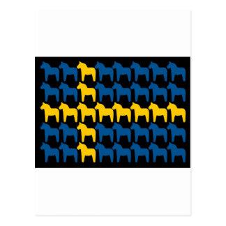 Schwarze Flagge Schwedens Dala Postkarte